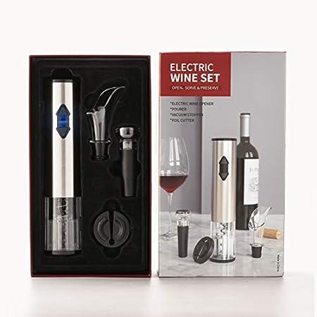 Sacacorchos Electrico, Abrebotellas A Batería, Juego De Abridor De Vino Automático con Cuchillo De Aluminio, Tapón De Vacío, Vertedor