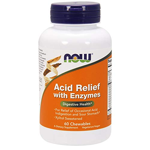(NOW Supplements, Acid Relief with Enzymes, Xylitol Sweetened, 60 Chewables)