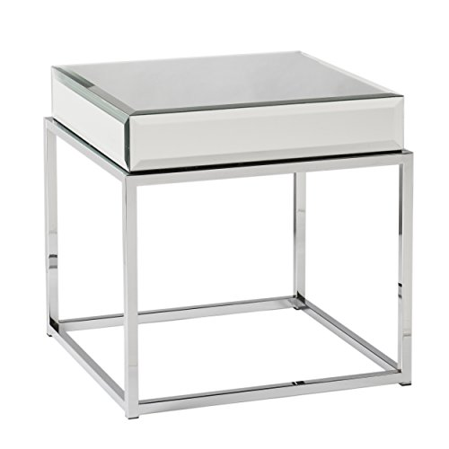 Dana Mirrored End Table – Mirror Finish w Square Tube Metal Frame – Glam Style
