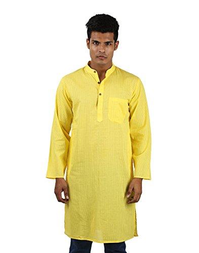 Indian Cotton Yellow Kurta Striped Self Weaved X-Large By Rajrang
