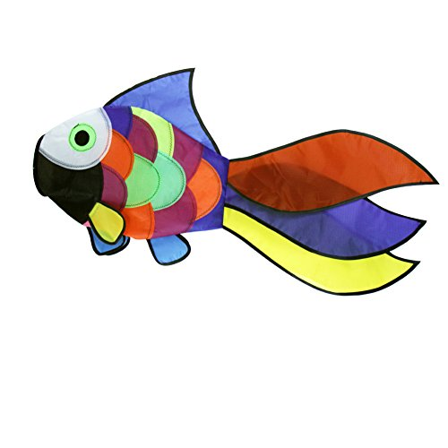 emma kites Cute Rainbow Fish Windsock Spinner Spiral 32-inch