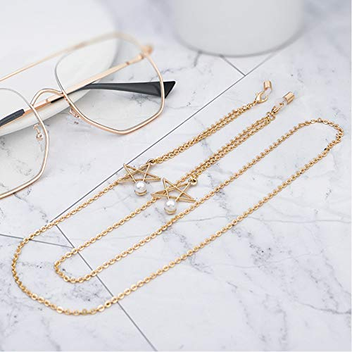 HTYX Golden Five-Pointed Star Pearl Hanging Neck Sunglasses Chain Prevent Glasses from Falling Metal Spectacle Cord - Eyeglasses Decoration chain-92CM