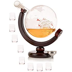 Olivia & Aiden Whiskey Decanter Globe with 8 S...
