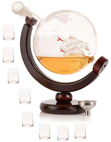 Olivia & Aiden Whiskey Decanter Globe with 8 Shot Glasses (Large 850 mL) World Map Liquor Dispenser | Unique, Vintage, Round | Bourbon, Scotch, Brandy, or ()