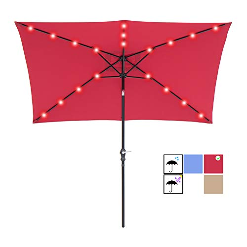 SUNBRANO 7 by 9 Ft Solar Powered LED Lighted Patio Umbrella Table Market Umbrella with Crank and Tilt, - Lighted Market Umbrella 9