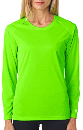 Custom Badger Womens B-Core Long Sleeve Performance Tees LIME WS (S/s Tee Womens Custom)
