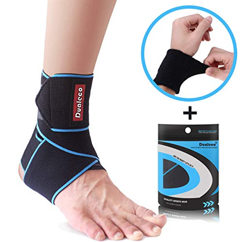 Ankle Brace, Adjustable Ankle Brace Support for Women/Men/Kids, Elastic Compression Ankle Wrap, Lace Up Ankle Brace Support for Sprained Ankle, Achilles Tendon, Sports, Running by Dualeco