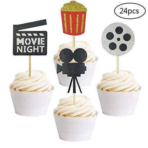 24 PCS Movie Night Cupcake Toppers Dessert Cupcake Toppers Hollywood Party Clear Treat Picks -