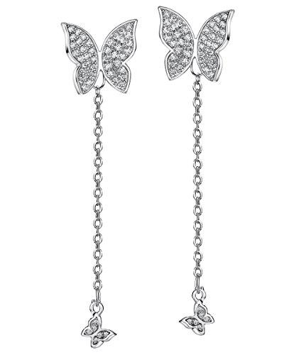 - Mints Sterling Silver Butterfly Earring Cubic Zirconia Dangle Earrings Drop Jewelry for Women