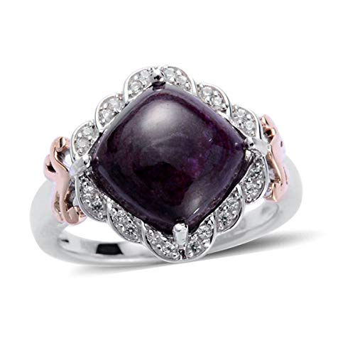 (14K Rose Gold Cluster Ring Sugilite Created Pink Sapphire Jewelry for Women Size 6.75)