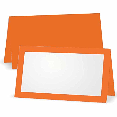 Orange Place Cards - Flat or Tent - 10 or 50 Pack - White Blank Front with Border - Placement Table Name Seating Stationery Party Supplies - Occasion or Event - Dinner Food Display (10, Tent Style) -