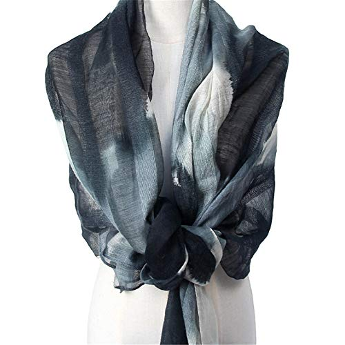 Wagsuyun Silk Wool Scarf Women Spring and Summer Shawl Ink Woven Printing Sunscreen -
