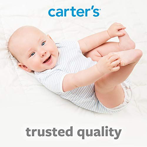 Carters Waterproof Fitted Quilted Crib and Toddler Protective Mattress Pad Cover, White