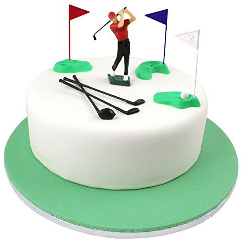 PME GS010 Modern Golf Cake Topper Decoration, Multicolor (Golf Cookie Cake)