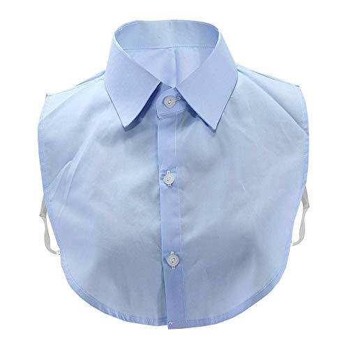 (Joyci New Cotton False Collar Commuter Suit Work Half Shirt Comfortable Decorate Pointed Lapel Blouse Collar Unisex Adult (Light Blue))