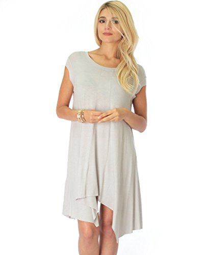Lyss Loo Women's Raw Edge Cap Sleeve Shark-Bite T-Shirt Tunic Dress in Silver - X-Large