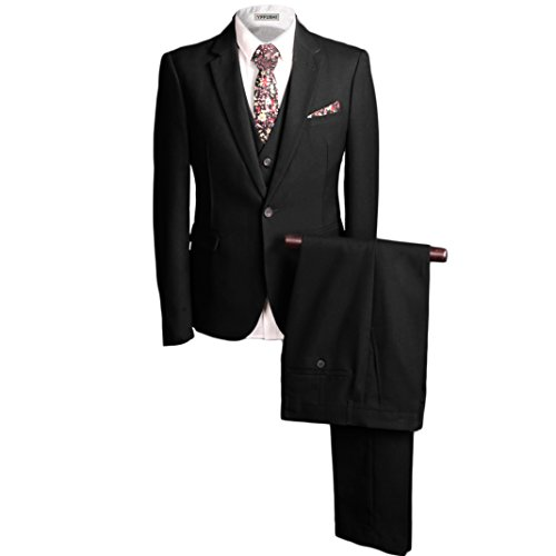 YFFUSHI Mens Single Breasted One Button 3-piece Suit Vintage Black/Grey Suit Fit