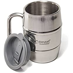 Eco Vessel MUG500SE BARREL Double Wall Insulated Stainless Steel Beer and Coffee Mug with Lid - 16 Ounce - Siver Express