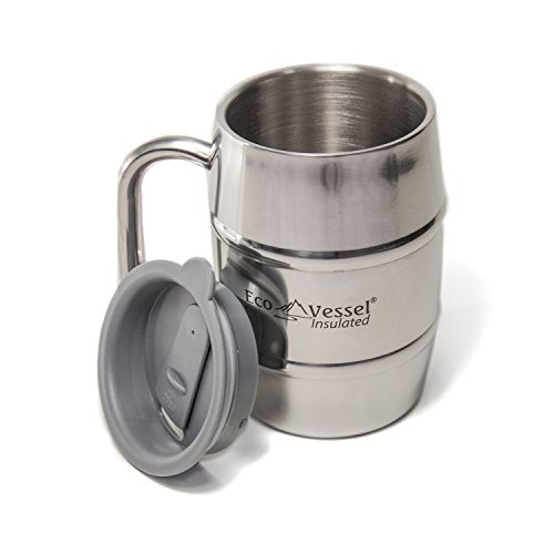 EcoVessel DOUBLE BARREL Double Wall Insulated Stainless Steel Beer and Coffee Mug with Lid - 16 Ounce - Siver Express
