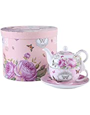 London Boutique Tea for One Teapot Cup suacer Set Vintage Flora Rose Lavender Porcelain Gift Box (Pink Butterfly Rose)
