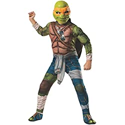 Rubies Teenage Mutant Ninja Turtles Deluxe Muscle-Chest Michelangelo Costume, Child Medium