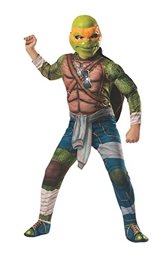 Rubies Teenage Mutant Ninja Turtles Deluxe Muscle-Chest Michelangelo Costume, Child Small (Teenage Mutant Ninja Turtles Halloween)