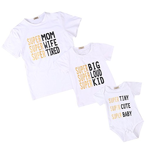 Mikrdoo Family Fitted Super Mom Kid Baby Clothes Letters Print Short Sleeve Shirt and Baby Romper Family Matching Outfit (6-12 (Family Matching Costumes)