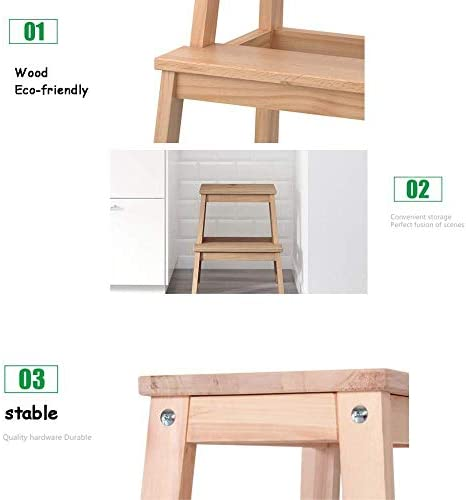 YAHAO Tabouret De Chaise Utilitaire en Bois à 2 Marches D'escalier, Chaise D'escalier à Usage Domestique en Bois Escabeau Mobile Élargi à La Maison Outil