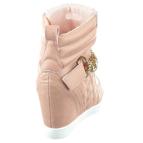 Sopily - Scarpe da Moda Sneaker Zeppa alla caviglia donna trapuntata Tacco zeppa 8 CM - soletta tessuto - Rosa