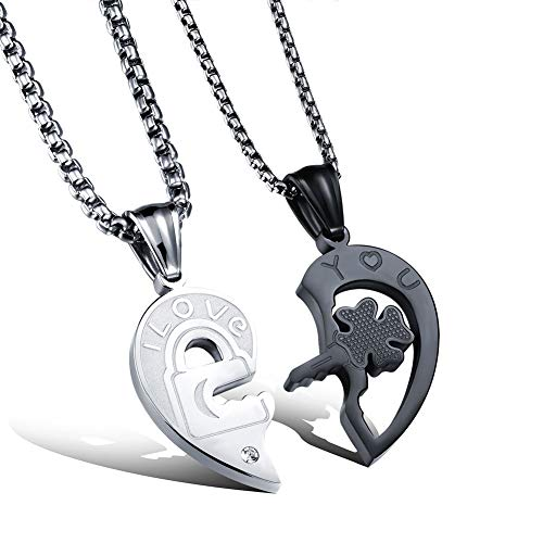 Fate Love His and Her Heart Shape Puzzle Stainless Steel Matching Couples Lover Necklace Set (with gift box) ()