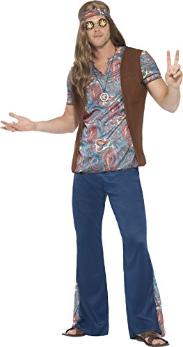 Smiffy's Men's 1960's Orian The Hippie Costume, Top, pants, Headscarf and Medallion, 60's Groovy Baby, Serious Fun, Size L, (Male Costume Halloween)
