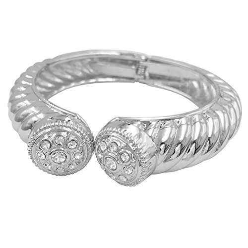 Gypsy Jewels Patterned Silver Tone Designer Look Hinged Bangle Bracelet (Round Top Rhinestone) ()