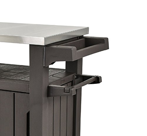 Attirant Keter Unity XL Indoor Outdoor Entertainment BBQ Storage Table/Prep  Station/Serving Cart With Metal Top, Brown