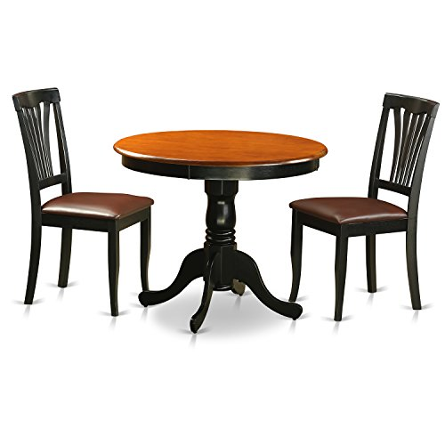 Antique Cherry Furniture (East West Furniture ANAV3-BLK-LC Antique 3 Piece Kitchen Set Finished In Black & Cherry)