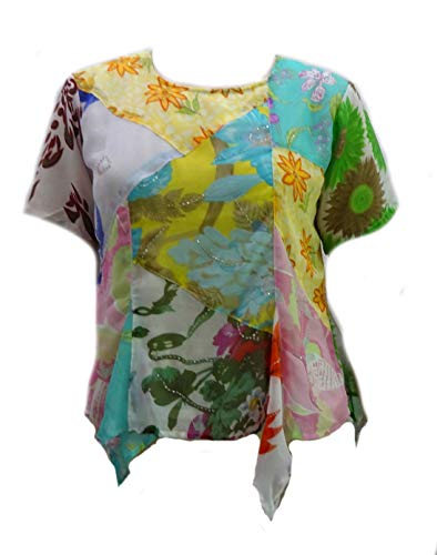 - Sacred Threads Patched Rayon Artsy Sheer Lined Georgette Top/Shirt Medi