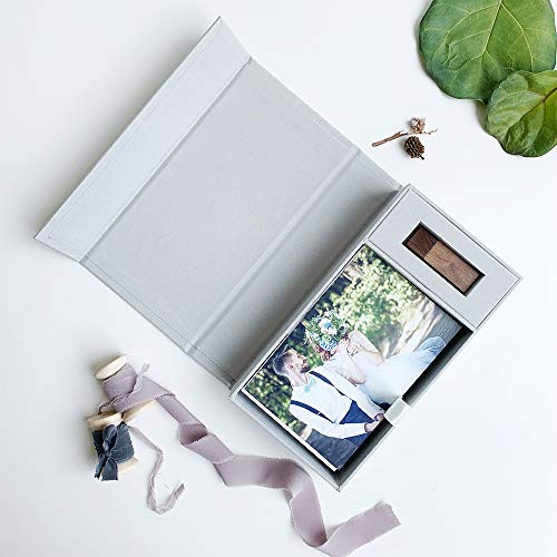 "Musetechnology Handmade Linen Photo Craft Storage Box with USB Slot - Greeting Cards Wedding Gift Box Holds 100 Prints Up to 4""X6"""