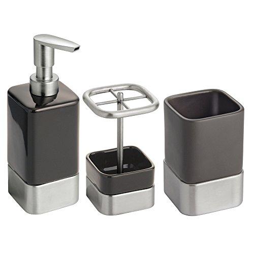 mDesign Ceramic Accessory Dispenser Toothbrush