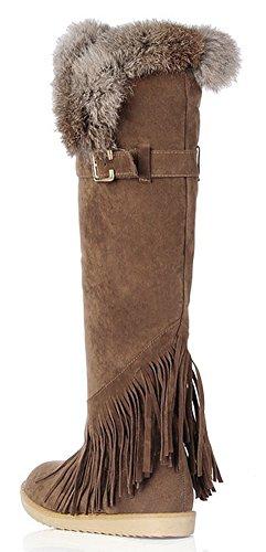 IDIFU Womens Warm Fringed Tassels Faux Fur Lined Flat Winter Knee High Snow Boots Light Brown uSkj7yK