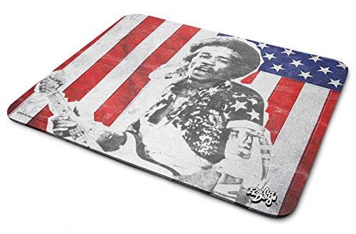Jimi Hendrix Mouse Mat Pad Stars and Stripes Portrait Logo ()