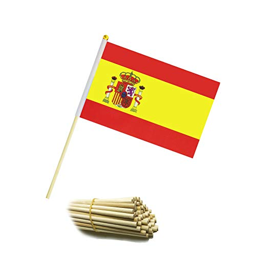 Kind Girl Wood Hand Held Spain Flag Spanish Flag Stick Flag Small Mini Flag 50 Pack Round Top National Country Flags,Party Decorations Supplies for Parades,World Cup,Sports Events, Celebration ()