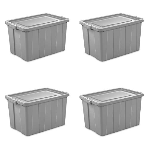 Sterilite 16796A04 Storage Tote, 30 gallon, Cement Lid and Base (Pack of 4) ()
