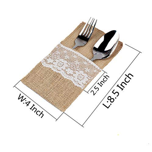 OZXCHIXU TM 100 Pack Natural Burlap Cutlery Holder Pouch Bag 4x8.5 Inch with Lace Silverware Napkin Holders Wedding Party Bridal Shower Table Setting Table Decoration by OZXCHIXU (Image #2)