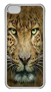 Big Face Leopard Polycarbonate Hard Case Cover for iPhone 5C Transparent