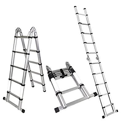 Magshion A-Frame Aluminum Ladder Telescopic Extension Tall Multi Purpose EN131
