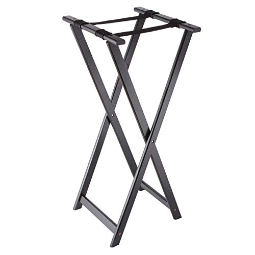 American Metalcraft WTSB40 38'' Folding Tray Stand w/Nylon Strap, Wood/Black