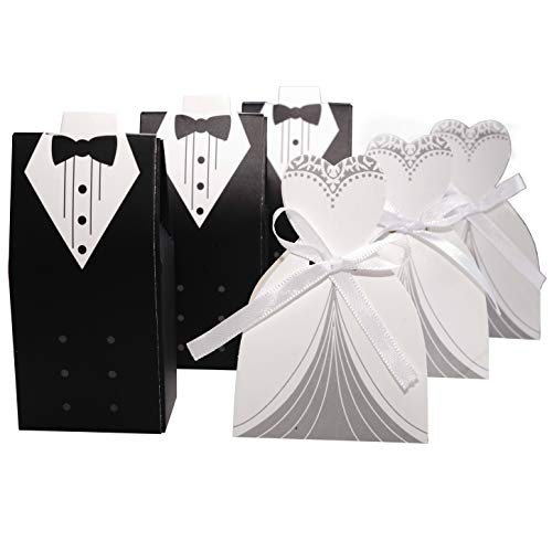 Wedding Party Favors Candy Treat Boxes – Tuxedo Dress Groom Bride Candy Boxes Small Gift Boxes Bulk Engagement Bridal Shower Anniversary Party Boxes Supplies, 100pc