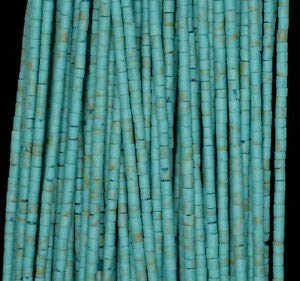 (2MM Turquoise Gemstone Green Round Tube HEISHI 2MM Loose Beads 12