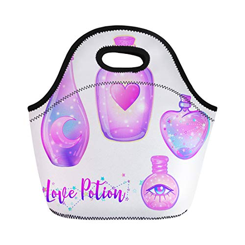 Semtomn Neoprene Lunch Tote Bag Magic Potion Blue Bottle Jar Pink Moon Crystals Heart Reusable Cooler Bags Insulated Thermal Picnic Handbag for Travel,School,Outdoors, -