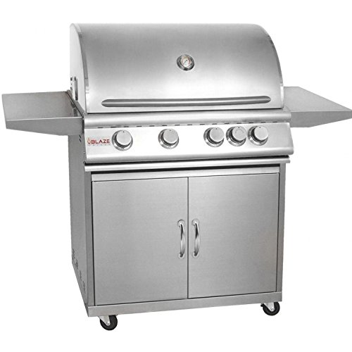 "Blaze BLZ-4-LP + BLZ-4-CART 32"" Grill on Cart with 4 Commercial Quality 304 Cast Stainless Steel Burners 66 000 Total BTUs and 740 Square Inches of Total Cooking Space in Stainless Steel: Liquid Blaze"