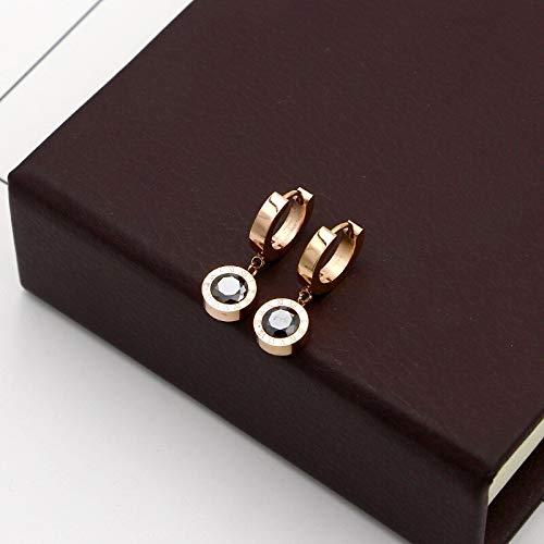 Cubic Drop Earrings Titanium Steel Rose Gold Color Women Dangle Earring Factory Prices (Black)
